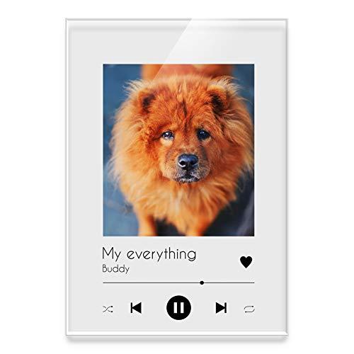 CHRISCK design Song Cover Acrylglasbild mit eigenem Foto, Musiktitel, Interpret, Namen oder Anderer Widmung | personalisiertes Geschenk | Musiktafel aus Aryl Spotifyglas