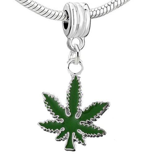 Sexy Sparkles - Colgante de hoja marihuana (cannabis) para pulsera de cadena de serpiente