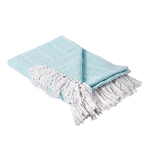 DII Herringbone Striped Collection Cotton Throw Blanket, 50x60, Aqua