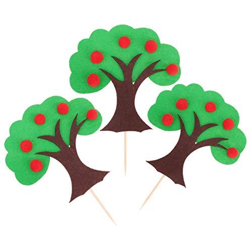 Hemoton 6 Sets Tree Cupcake Topper Evergreen Tree Picks Cupcake Toppers Pine Tree Picks Cake Decoration for Birthday Baby Shower -Green