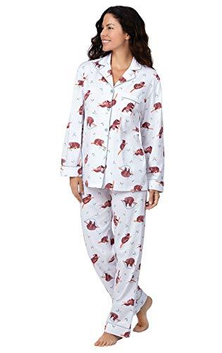 PajamaGram Sloth Pajamas for Women - Womans Pajamas Sets, White Sloth, S 4-6