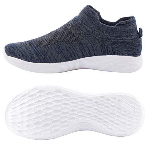 Enjoy Walking Shoes for Mens Lightweight Slip On Sneakers Mesh Shoes Casual Running Gym Shoes, (Grey, Size: 10UK)