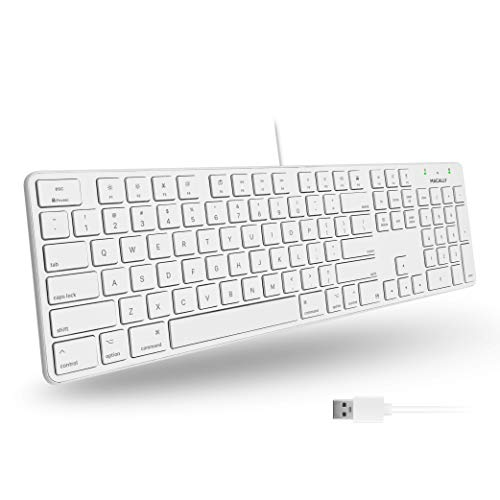 Macally Slim USB Wired Keyboard - Full Size 104 Key Layout & 16 Shortcut Keys - Plug & Play Keyboard for Mac and Windows PC - Scissor Keycaps for Smooth Typing - Mac Wired Keyboard with Numeric Keypad