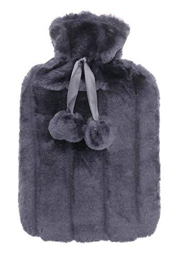 RHP Wärmflasche mit Super Soft Luxury Plüschbezug Kunstfell 2L Wärmflasche mit Bezug Naturgummi Wärmekissen Flasche Weich Warm Geschenk (Anthrazit)