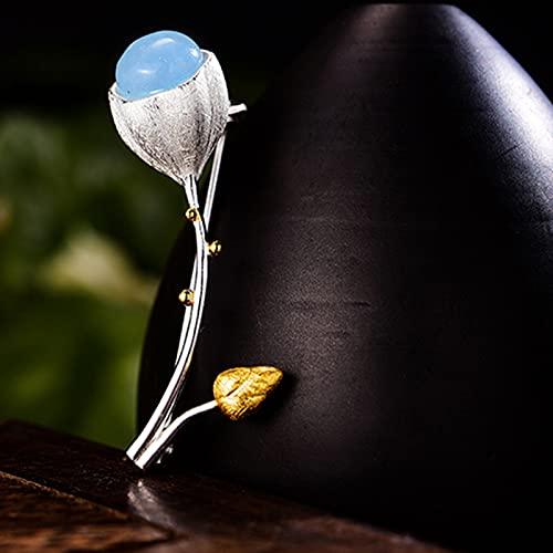 Lotus Fun Real 925 Plata de Ley Piedra Natural Diseñador Hecho a Mano Joyería Fina Elegante Lotus Buds Broches para Mujeres Bijoux