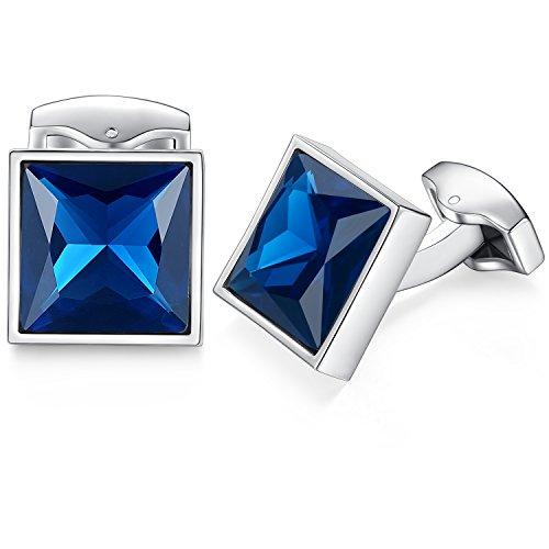 HONEY BEAR Manschettenknöpfe mit Swarovski Kristall- Edelstahl für Herren Hochzeit (Blau)