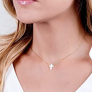 White Opal Cross On Dainty Gold Filled Choker Necklace - Handmade Collar 13.5 inch + 3 inch Extender