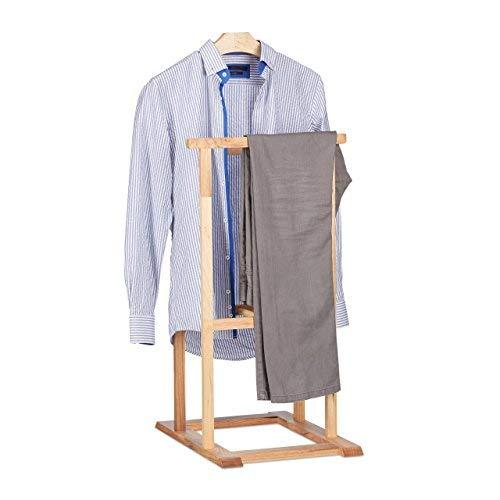 Relaxdays Houten dressboy voor kreukvrije pakken, walnoot kledingstandaard HxBxD 102 x 47 x 50 cm, naturel