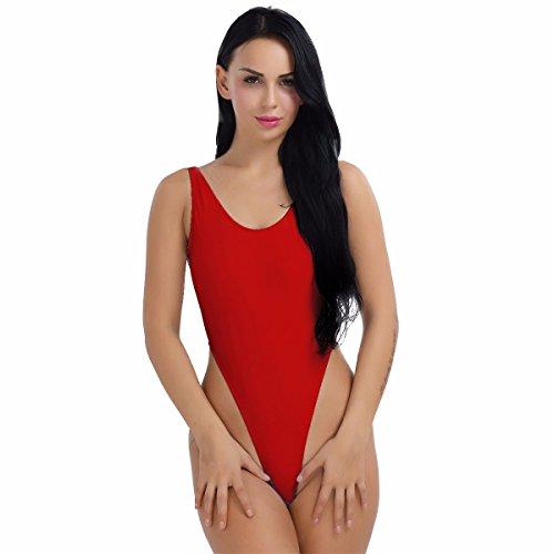 YiZYiF Damen Body Sportbody High Cut Rückenfrei Dessous Bodysuit Thong Leotard Bikini Badeanzug S M L XL 2XL (Rot, X-Large)