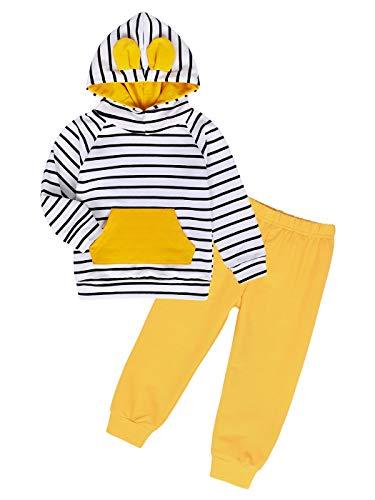 Edjude Bebé Niño Sudaderas con Capucha Manga Larga Conjuntos de Ropa Otoño Pantalones Amarillo 12-18 Meses Raya Blanco