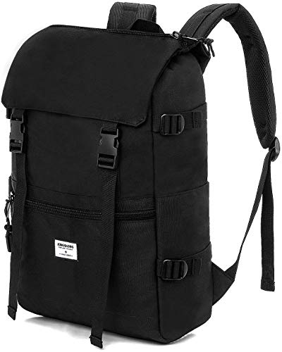 KINGSLONG Laptop Backpack Waterproof Mens Rucksack Black 17.3 Inch Hiking Backpacks Laptop Bags 25L Women's Lightweight Travel Camping School College Business Casual Daypack