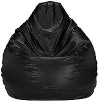 Mellifluous Leatherette Bean Bag Cover (Without Beans) (XL, Black)
