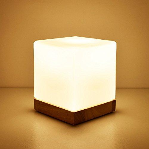WSHFOR Würfel Glas Modern Dimmbar Holztisch tischlampe Weiß mit E27 Nachttisch lesen LED Holz Schreibtischlampe (Farbe : Dimmer switch)