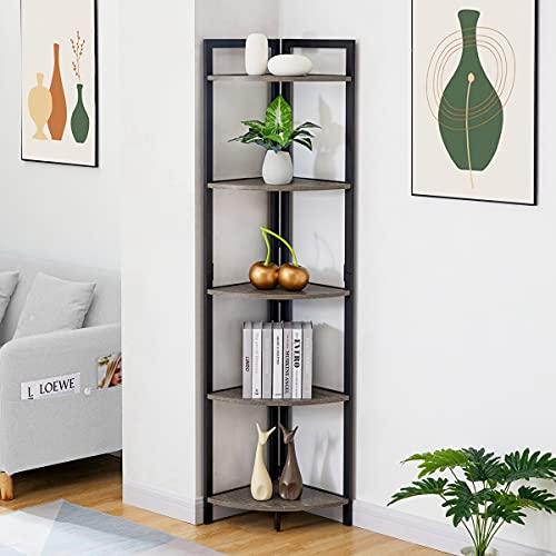 BON AUGURE Industrial Corner Shelf Stand, Rustic 5-Tier Tall Corner Bookshelf, Wood and Metal Corner Bookcase and Corner Shelving Unit (Dark Grey Oak)
