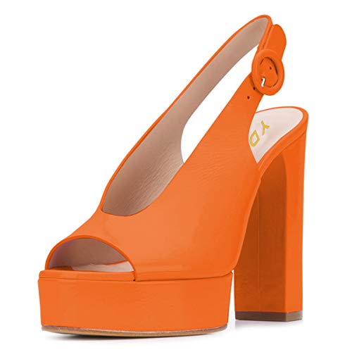YDN Women Chic Peep Toe Chunky High Heel Sandals Slip on Platform Pumps Slingback Slide Shoes Orange 8