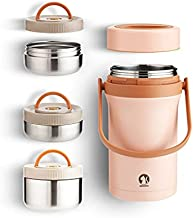 304 stainless steel vacuum insulation pot Adult students divided lunch box three layers anti-spill large capacity insulati...