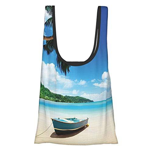 Plage océan côtière décor bateau sur le lagon de Mahe et la zone forestière tableau bleu ivoire vert sac de courses réutilisable sac de courses écologique