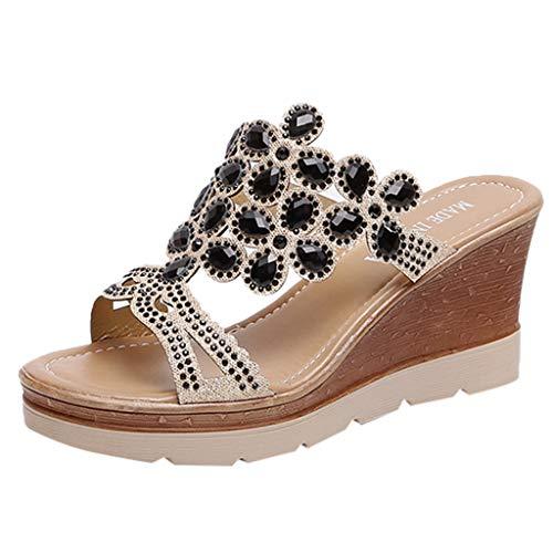 AIni Zapatos De Vestir Mujer Moda TacóN Alto Sandalias Plataforma Zapatos De CuñA De Verano TacóN De 8cm Sandalias De Strass Sandalias De Fiesta Zapatos Bohemias Las Sandalias Planas Negro 35-