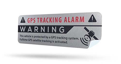 SECYOURITY - GPS Alarm Aufkleber Auto - Warnaufkleber für PKW & LKW (Silber, 4)