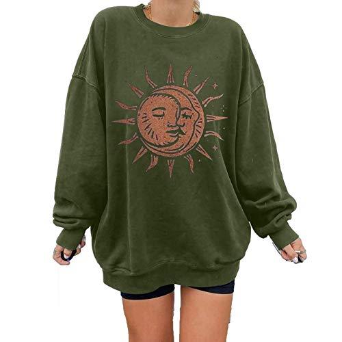 Sweat-shirt pour femme Automne Hiver Soleil Lune Imprimé Pullover Col O Manches Longues Patchwork Tops Plus Size T-shirt Blouse (XL, Vert)