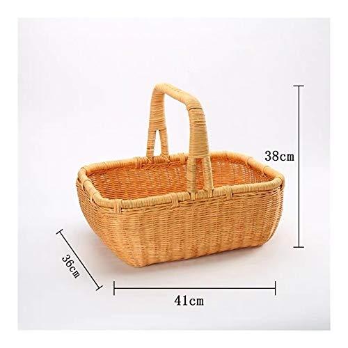 Picknickmand Handgemaakte rotan Woven Voedsel Fruit grote capaciteit Portable Outdoor Picnic Vegetable Storage Basket Huishoudelijke Artikelen (Color : 41x38x36cm)