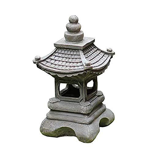 NGXL Pagoda Garden Chinese, Außen Japanischen Stil Solar-Zen Garten Beleuchtung Laterne Pagode Licht Solar-Gartenlampe Statue Bauernhof Balkon Kreative Dekoration-Lampe,Grau