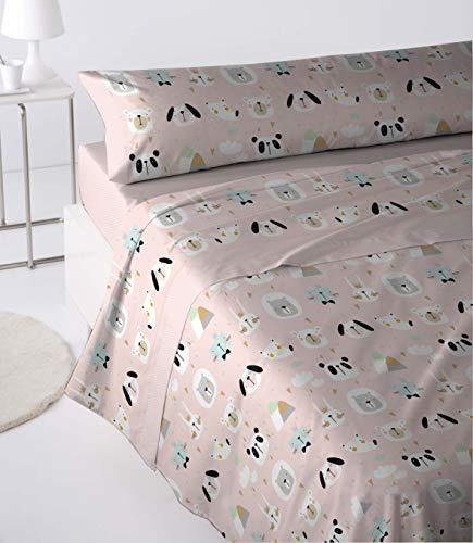 Cabetex Home - Juego de sábanas Infantiles - 3 Piezas - polialgodón - Animals (Nude,...