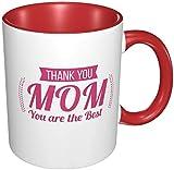 Tazza da caffè in porcellana con manico in ceramica, con scritta 'Thank You Mom Mothers Day', per cappuccino, tè, cacao e cereali, rosso, 311,8 g