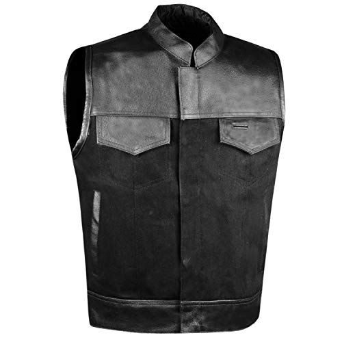 SOA Men's Leather and Denim Motorcycle Club Vest Gun Pockets Biker w/Armor M