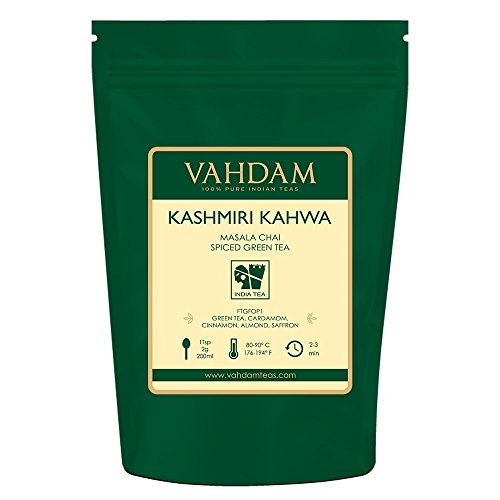 VAHDAM, Kashmiri Kahwa Tè Sfuso, 100gr (50 tazze) | 100% SPEZIE NATURALI | Miscela di tè verde, cannella, cardamomo, mandorla e zafferano | Brews Chai Latte | Chai Tea dall'India