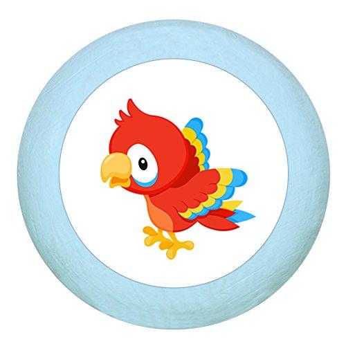"""Holz Buchegriff""""Papagei"""" hellblau zartblau pastellblau pastell Holz Buche Kinder Kinderzimmer 1 Stück wilde Tiere Zootiere Dschungeltiere Traum Kind"""