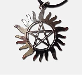 Supernatural Anti-Possession Tattoo Silver Toned Pendant Necklace, Sam Winchester and Dean Winchester