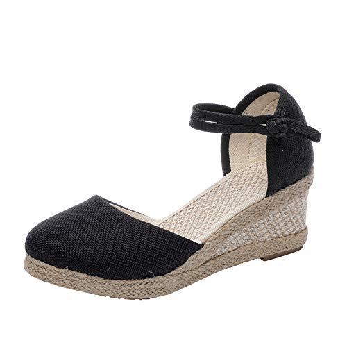 Mujer Señoras Cuñas Verano Tobillo Correas Sandalias de Vestir Mujer Tacon Sandalias Medio Cuña Tiras Mezclilla Zapatos Verano
