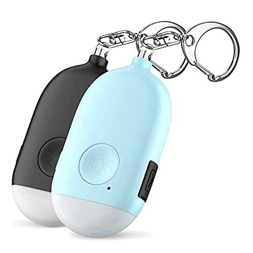 Andifany Alarma Personal de Sonido Seguro de 2 Piezas, Alarma de Seguridad con Llavero de 130DB con Luz LED de Emergencia para Mujeres, NiiOs y Ancianos