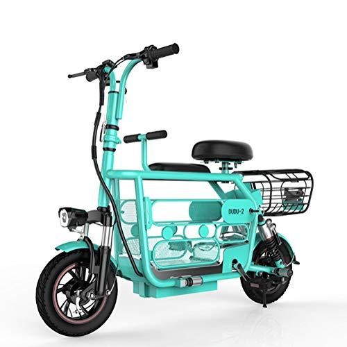 Qnlly Folding Electric Bike 400W 48V Elektro-Fahrrad Max Reichweite 85KM Elektro-Tretroller für Erwachsene Kinder mit Sitz,Blau,15A