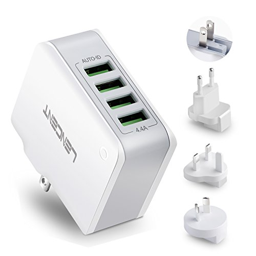 Multiple USB Wall Charger, [22W/4.4A] LENCENT 4 Port USB Travel Power Adapter, All in One Worldwide Cell Phone Charger With UK US EU European Australia, International Block Cube Plug for iPhone & IPad