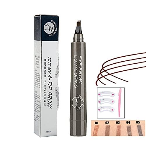 Microblading Augenbrauen-Tattoo-Stift, Wasserdichter Augenbrauen-Tattoo-Stift, GroßEr Kopf 4 Gegabelter Augenbrauenstift, Langlebiger NatüRlicher Professioneller FlüSsiger Augenbrauenstift