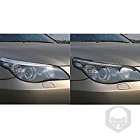 カーボンファイバーヘッドライトまぶた ヘッドライト眉毛とまぶたデコレーションカーボンファイバーアイ・カバーデコレーションモデルステッカー、BMW E60 5シリーズに最適のA組(2004年から2010年)