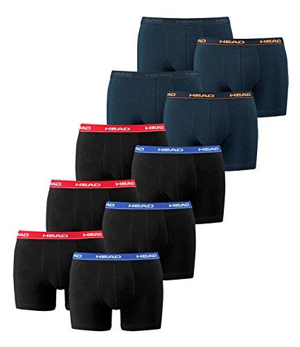 HEAD Herren Boxershorts 841001001 10er Pack, Wäschegröße:M;Artikel:3x Red/Blue/Black / 2x Peacoat/Orange