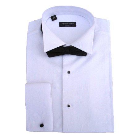 Clermont Direct Chemise à col officier et nœud papillon, boutonnage sur le devant - 100 % coton Marcella - Blanc - Taille Unique