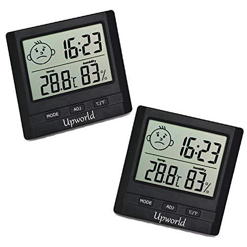 Upworld Hygrometer mit Uhr 2 Stück, Mini Thermometer Hygrometer Digital Innen/Ausen Messgerät, Hygrometer Feuchtigkeit für Zuhause, Büro, Babyzimmer, und Mehr, Schwarz(Batterie eingeschlossen)
