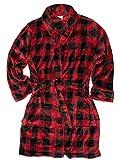 Womens Plush Red & Black Buffalo Plaid Bathrobe House Coat Bath Robe 2X