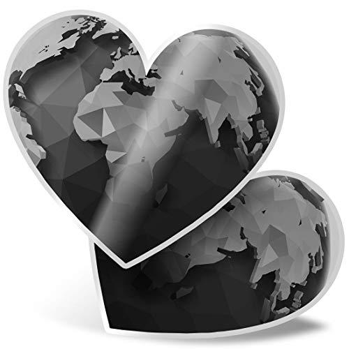 Impresionante 2 pegatinas de corazón de 15 cm BW – Origami Poligonal Earth Planet Globe calcomanías divertidas para portátiles, tabletas, equipaje, libros de chatarra, frigorífico, regalo genial #43311