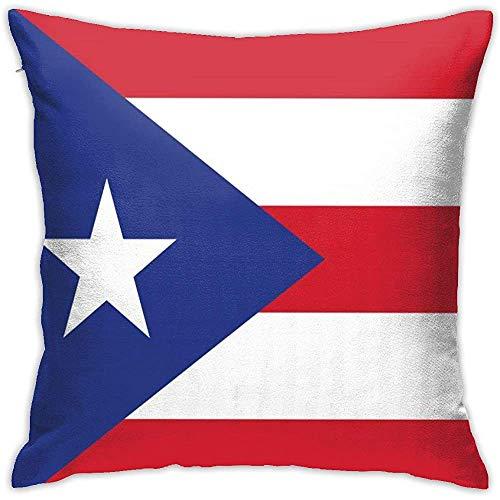 July Puerto Rico Flag Throw kussensloop onzichtbare ritssluiting sluiting kussensloop voor Home Sofa Slaapkamer Huis Party
