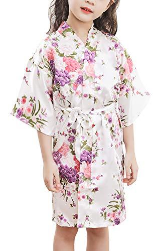 YAOMEI Niños Niña Vestido Kimono Satén Camisón para Niña, Cereza Flores Robe Albornoz Ropa de Dormir Pijama SPA natación cumpleaños (Tamaño 10: para la Altura 115-130 cm (45'-51'), Blanco)