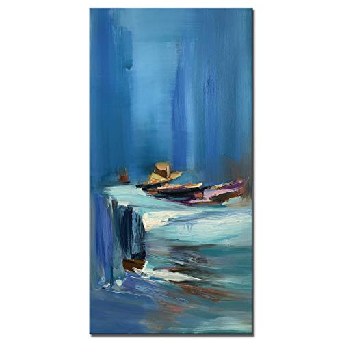 Large Size Blue Abstract Seacape Wall Art Hand Painted Modern Sail Boat Canvas Painting Vertical...