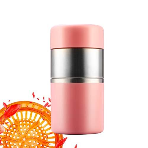 Manuelle Saftpresse Fruit Lemon Orange Squeezer - 400 ml Behälter - Perfect Juicer Mug für Kinder, tragbar und gesund, leicht zu reinigen,Pink