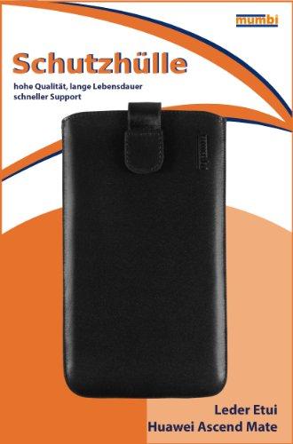 mumbi Echt Ledertasche kompatibel mit Huawei Ascend Mate Hülle Leder Tasche Case Wallet, schwarz - 2