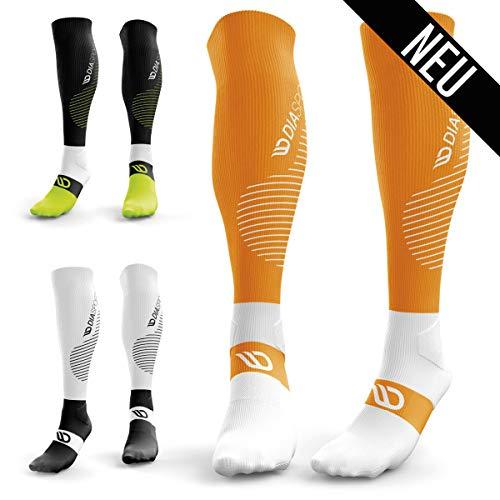 Diasports® RUNSTARTS Kompressionsstrümpfe – Deine Kompressionssocken für Marathon, Triathlon, Trailrunning – 100% Compression Socks für Kompression beim Laufen (Kniestrümpfe Damen/Herren) (Orange, M)