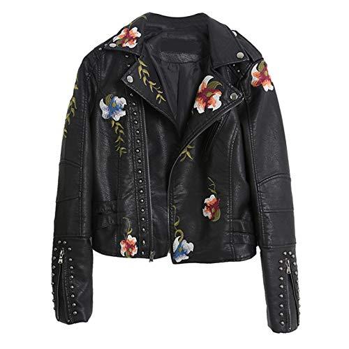woyada Damen Lederjacke mit Blumenmuster, lässig, coole Kunstlederjacken, kurzer PU-Mantel mit Nieten für Frühling, Herbst und Winter
